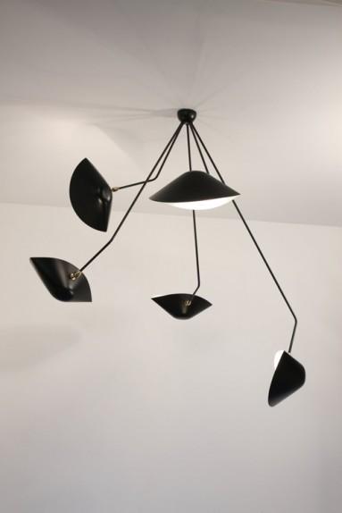 serge mouille spider ceiling light with 5 curved fixed arms i uber modern. Black Bedroom Furniture Sets. Home Design Ideas