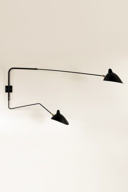 Serge Mouille - Serge Mouille Wall Light with 2 pivoting arms, including 1 curved