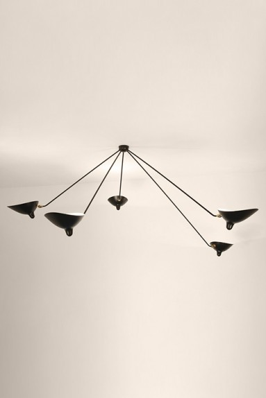 Serge Mouille - Serge Mouille Spider Ceiling Light with 5 fixed arms