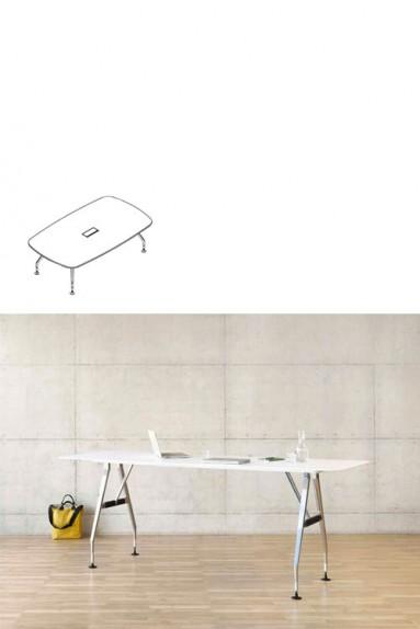 Vitra - Ad Hoc Solitaire 240 x 140 cm Table de réunion forme bateau Vitra