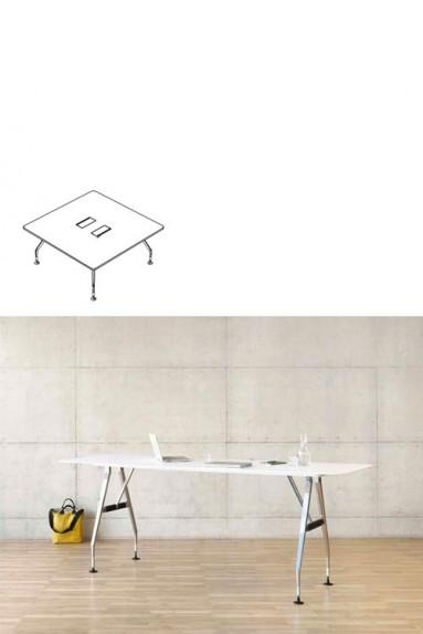 Vitra - Ad Hoc Solitaire 160 x 160 cm Table de réunion carrée Vitra