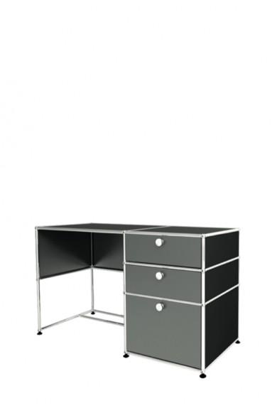 USM Haller - Bureau d'appoint 2 portes 1 tiroir USM Haller Home Office 128 x 53 x h77 cm