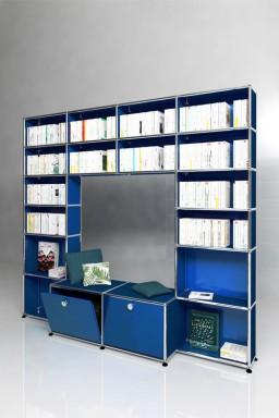 USM Haller - Solutions Bibliothèques Home N°09 USM Haller 2 portes 1 assise 203 x 38 x h177 cm