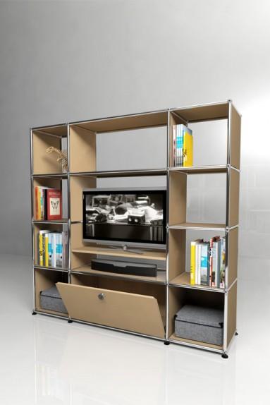 USM Haller - Grand meuble TV 1 porte Solutions Media N°09 USM Haller 148 x 38 x h144 cm