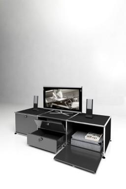USM Haller - Meuble TV 1 tiroir 3 portes Solutions Media N°08 USM Haller 153 x 53 x h39 cm