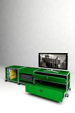 USM Haller - Meuble TV 1 porte 1 tiroir Solutions Media N°06 USM Haller 178 x 38 x h43 cm