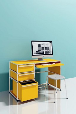 USM Haller - Petit bureau à tiroirs USM Haller Home Office01