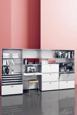 USM Haller - Grand meuble de rangement avec bureau USM Haller Home Office10