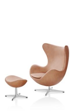 Fritz Hansen - Repose-pieds cuir EGG™ par Arne Jacobsen
